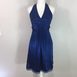 Ann Taylor silk blue midi dress